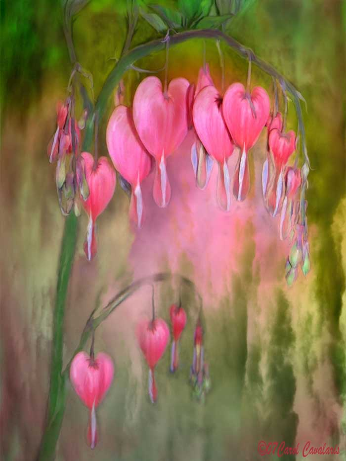 tree with flowers painting language of flowers series tree of bleeding hearts digital art