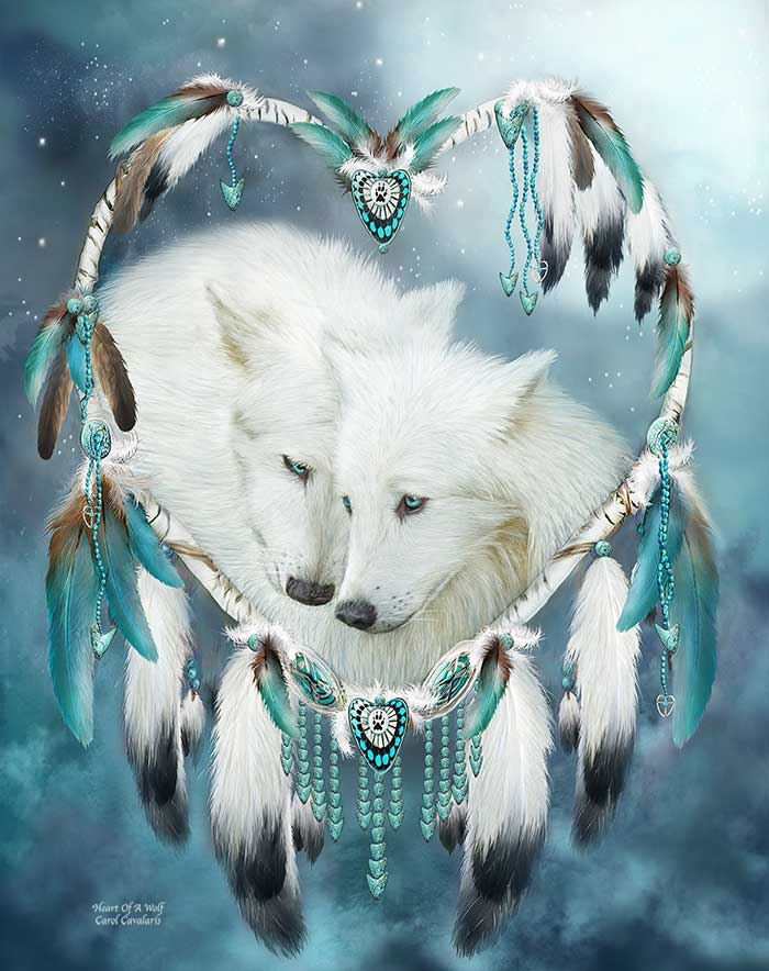 dreamcatcher wolves feathers white - photo #18